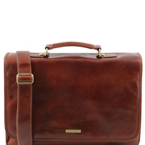 Mantova - Leather multi compartment TL SMART briefcase with flap