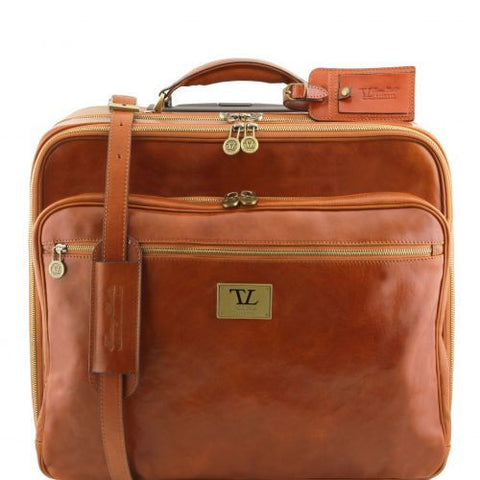 Varsavia - Two compartments leather pilot case with two wheels