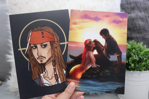 5x7 Double-sided Lira-Elian/Jack Sparrow Art Print - Flick The Wick