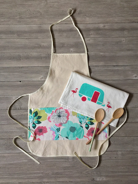 Bright Floral Canvas Apron w/ Pockets