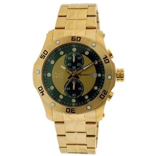 Invicta Signature II Chronograph Green Gold tone Dial Mens Watch 7385