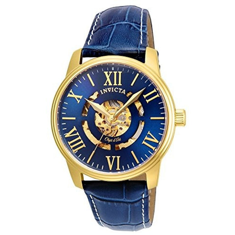 Invicta Men s Objet D Art Automatic Gold Tone and Leather Casual Watch, Color Blue Model 22601