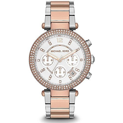 Michael Kors Ladies Two Tone Rose Gold Chronograph Date Watch MK5820