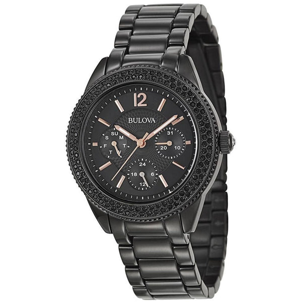 Bulova Ladies Crystal 98N105 Black Bracelet Watch