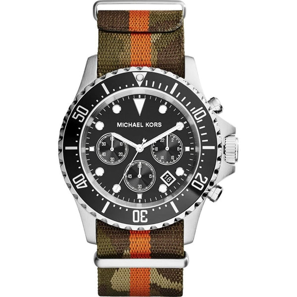 Michael Kors Everest Grosgrain Black Dial Mens Watch MK8399