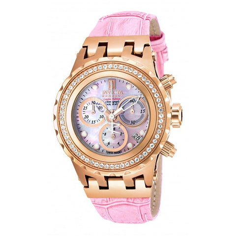 Invicta Jason Taylor Gold Tone watch on Pink leather strap 15788