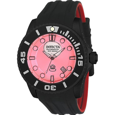 Invicta Men s Pro Diver Automatic Stainless Steel and Silicone Diving Watch, Color Black Model 22995
