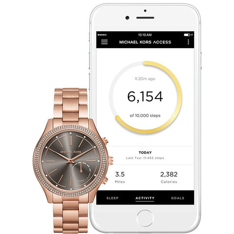 Michael Kors Access Slim Runway Pav Rose Goldtone Hybrid Smartwatch
