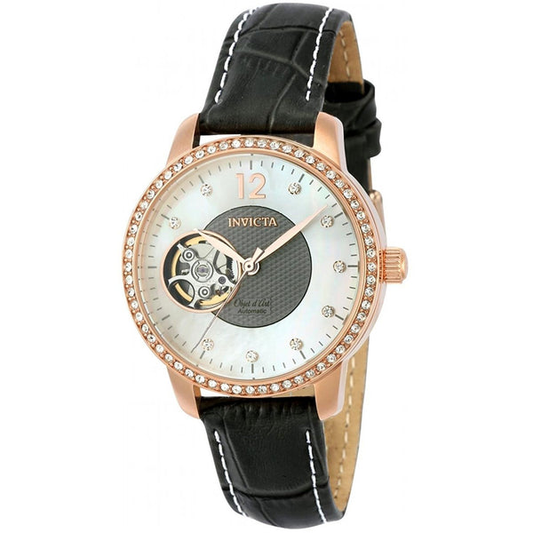 Invicta Women s Objet D Art Automatic Gold and Leather Casual Watch, Color Grey Model 22623