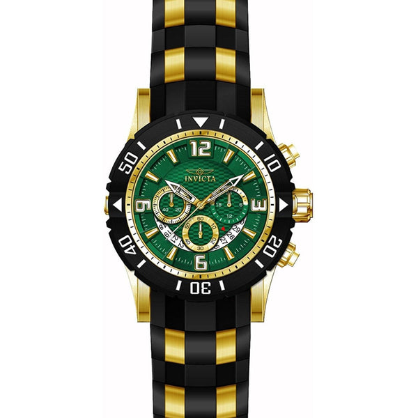 Invicta 23703 Men s Pro Diver Green Dial Yellow Steel Black Polyurethane Strap Chrono Dive Watch