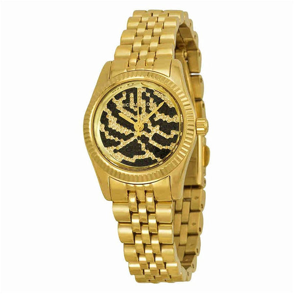 Michael Kors Women s Midnight Safari Petite Lexington Watch, Gold, One Size