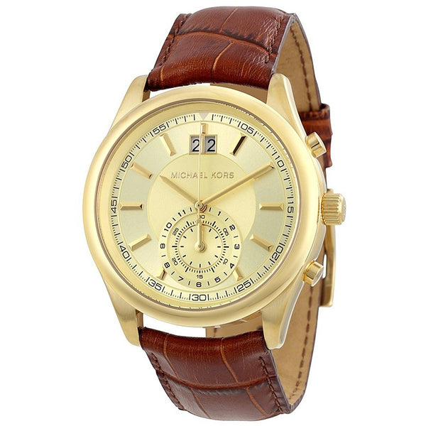 Michael Kors Aiden Gold Dial Mens Dual Time Watch MK8459