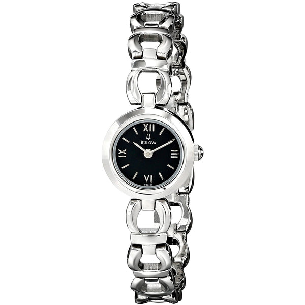 Bulova 96L101 Womens Silver Tone Stainless Steel Black Dial Bracelet Watch