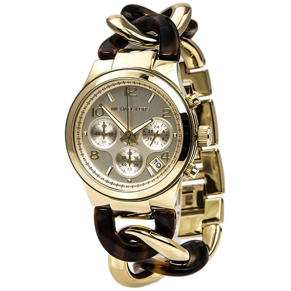 Michael Kors Chain Link Acrylic Gold tone Ladies Watch MK4222