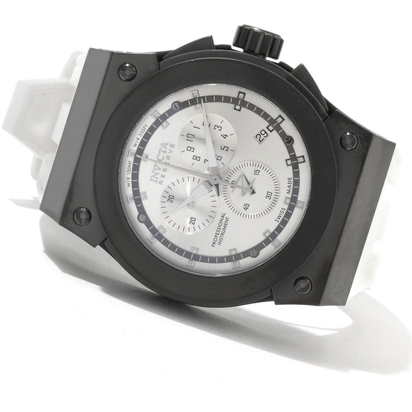 Men s Invicta 12020 Akula Reserve Black Stainless Steel Swiss Made Chronograph White Silicone Watch