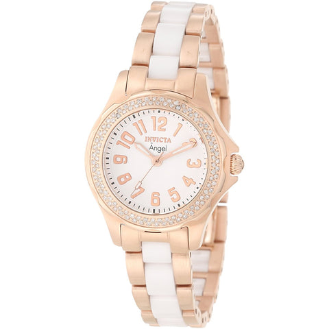 Invicta Women s 1781 Angel White Dial 18K Rose Gold Ion Plated Stainless Steel Watch