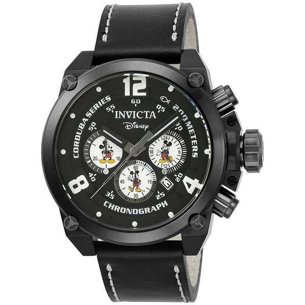 Invicta Men s Disney Edition Quartz Stainless Steel and Leather Casual Watch, Color Black Model 22757