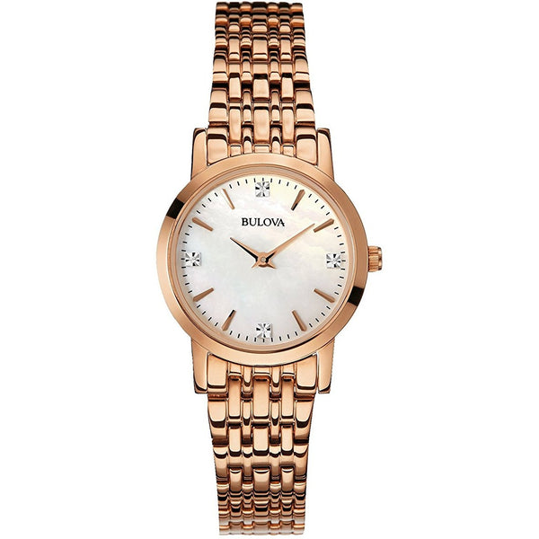 Bulova 97P106 Ladies Diamond Gallery Rose Steel Bracelet Watch