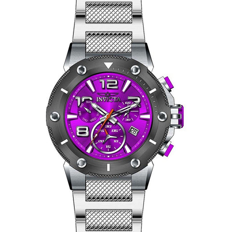New Mens Invicta 19632 Viper Z60 Chronograph Purple Dial Steel Bracelet Watch