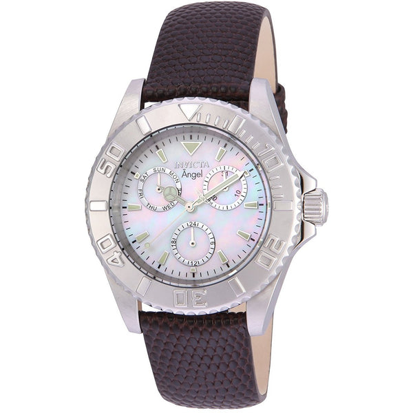 Invicta Women s Angel Quartz Stainless Steel and Leather Casual Watch, Color Grey Model 17522