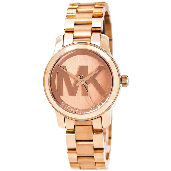 Michael Kors Women s Mini Runway Rose Gold tone Stainless Steel Bracelet Watch 33mm Mk3334