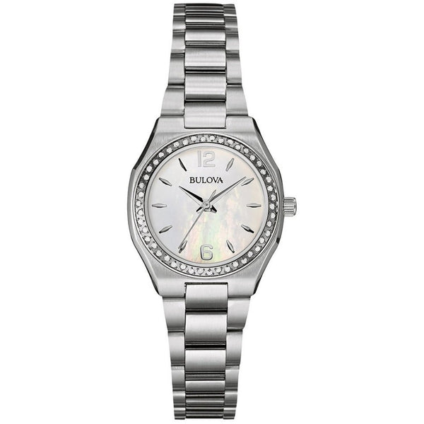 Bulova Ladies 96W199 Stainless Steel and Diamond Watch with a Mother of Pearl Dial