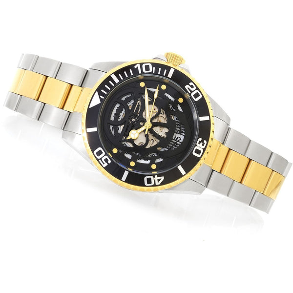 "Invicta 43mm Pro Diver ""Skull"" Automatic Two Tone Stainless Steel Bracelet Watch"
