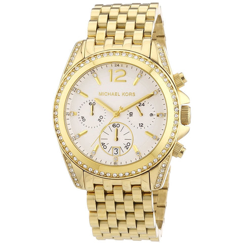 Michael Kors Pressley Chronograph White Dial Gold tone Ladies Watch MK5835