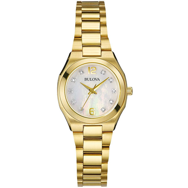 Bulova 97P109 Ladies Diamond Gallery Gold Steel Bracelet Watch