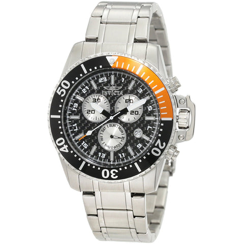 Invicta Men s 11282 Pro Diver Chronograph Black Carbon Fiber Dial Stainless Steel Watch