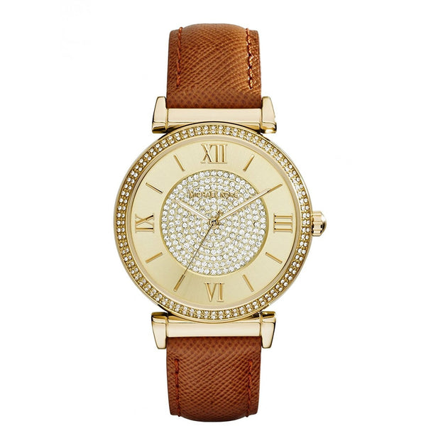 Michael Kors Watches Catlin Leather Watch Brown