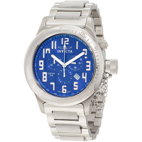 Invicta Men s 10551 Russian Diver Chronograph Blue Sunray Dial Stainless Steel Watch