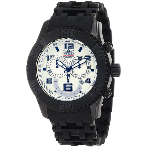Invicta Men s 1776 Sea Spider Chronograph Ivory Metal Dial Black Polyurethane Watch