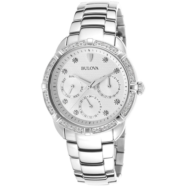Bulova 96R195 Saks Womens Diamond Stainless Steel Silver Tone Dial Ss Watch