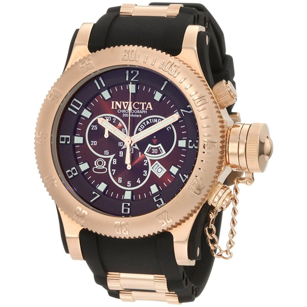 Invicta Men s 10136BBB Russian Diver Off Shore Chronograph Brown Dial Black Polyurethane Watch