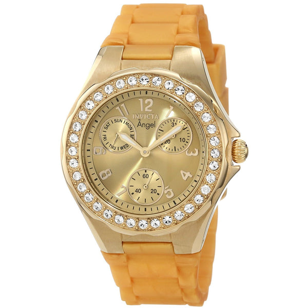 Invicta Women s 1650 Angel Crystal Accented Yellow Dial Watch