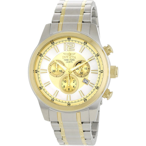 Invicta Men s 0792 II Collection Chronograph Gold Dial 18k Plated and Silver Tone Stainless Steel Watch