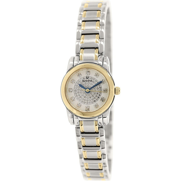 Bulova Highbridge Silver Diamond Pave Dial Two tone Ladies Watch 98P133