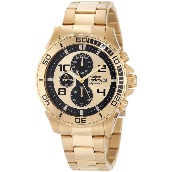 Invicta Men s 7392 Signature Chronograph Gold Tone Dial Ion Plated Stainless Steel Watch