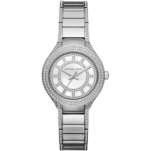 Michael Kors Women s Silvertone Stainless Steel Mini Kerry Watch with Mother of Pearl Dial