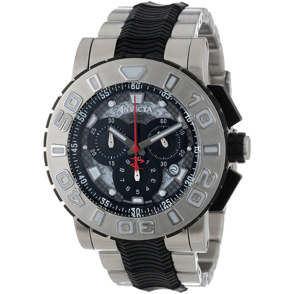 Invicta Men s 6310 Reserve Collection Chronograph Stainless Steel and Black Rubber Watch