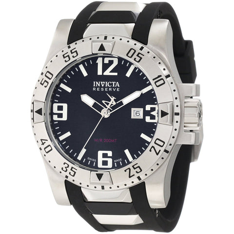 Invicta Stainless Steel Reserve Excursion Black Rubber Strap 6252