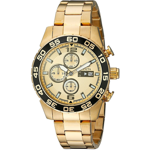Invicta Men s 1016 II Collection Chronograph Gold Dial 18k Plated Stainless Steel Watch