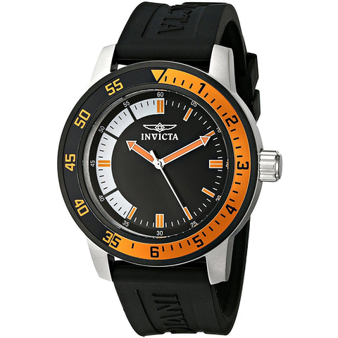 Invicta Men s 12848 Specialty Black Dial Watch with Orange Bezel