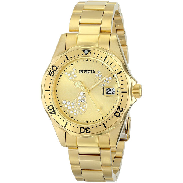 Invicta Women s 12505 Pro Diver Analog Display Japanese Quartz Gold Watch
