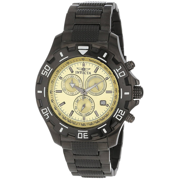 Invicta Men s 80158 Specialty Chronograph Champaign Dial Gunmetal Ion Plated Stainless Steel Watch