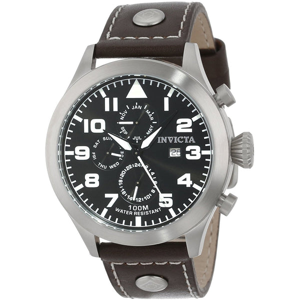 Invicta Men s 15291 I Force Black Dial Brown Leather Band Watch