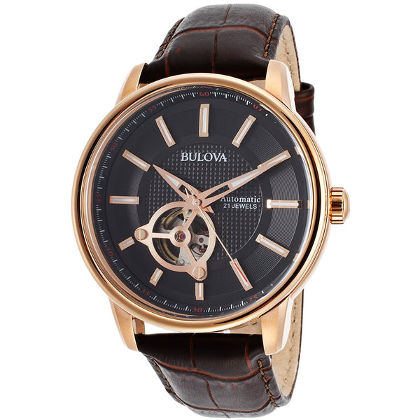 Bulova 97A109 DD Mens Automatic Dark Brown Genuine Leather Black Dial