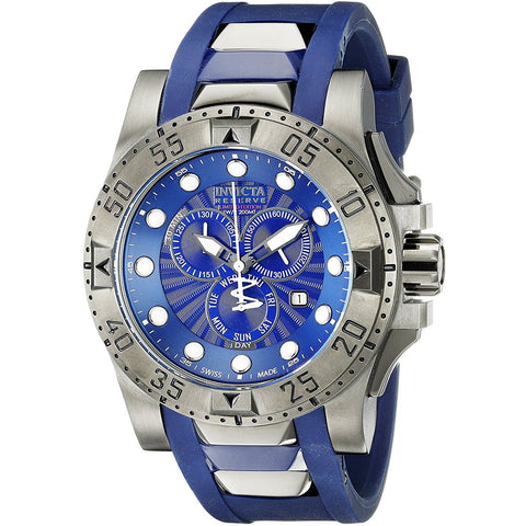 Invicta Men s 18689 Excursion Gunmetal Ion Plated Stainless Steel Watch With Blue Faux Rubber Band