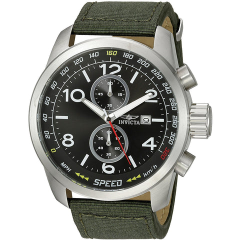 Invicta Men s Aviator Quartz Stainless Steel and Nylon Casual Watch, Color Green Model 19409